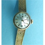 Tissot, a ladies 'Stylist' 9ct gold wrist watch on gold mesh bracelet, total weight 16.5g, boxed.