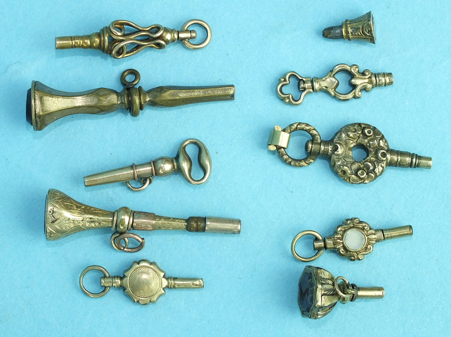 Lot 290 - Nine various watch keys, (some a/f) and other items.