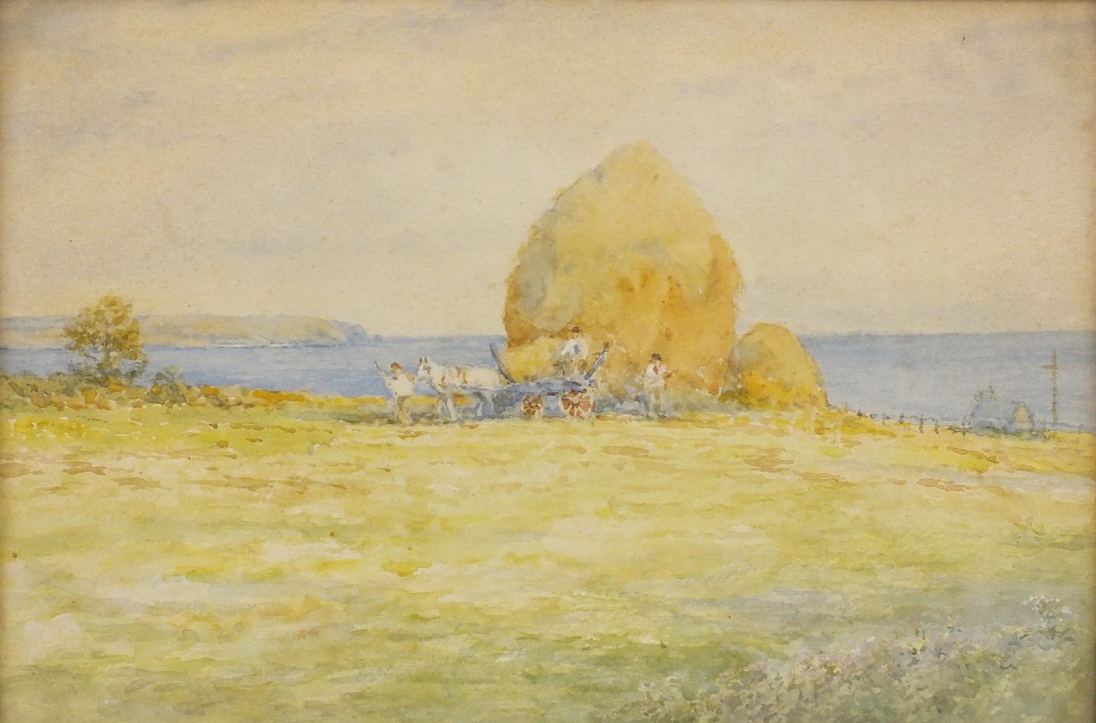 W Darton HAYMAKER OVERLOOKING A COASTAL SCENE Unsigned watercolour, 24 x 34cm and a companion,