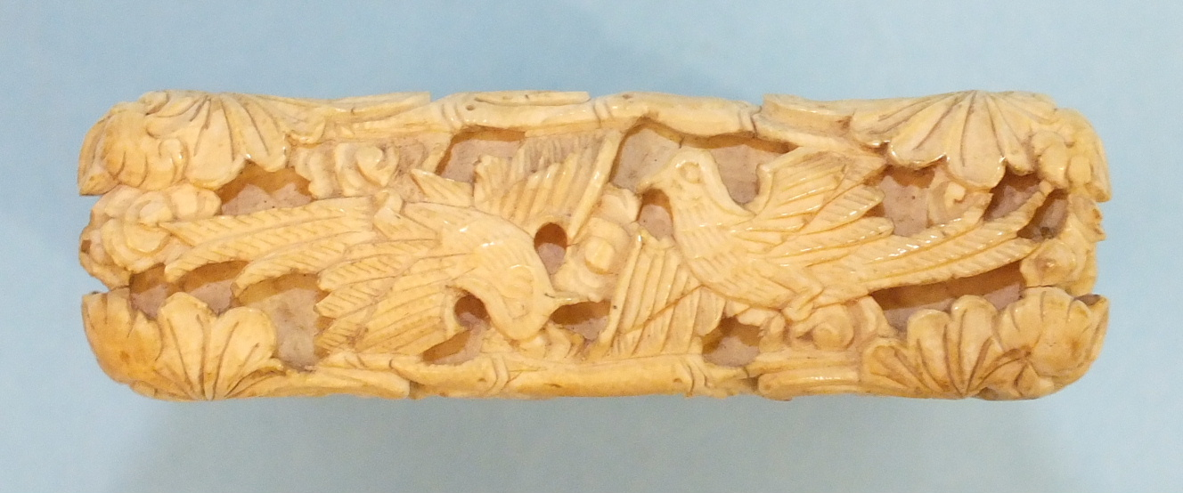 A 19th century Chinese ivory card case deeply-carved with figures in rural pursuits and garden - Image 7 of 11