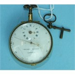 An 18th century open-face pocket watch by Henry Gower, London, the white enamel dial with subsidiary