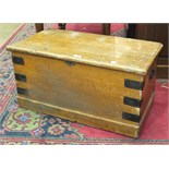 A metal-bound pine box, 76cm wide, a pine blanket chest, a tool box and a pine stool, (4).