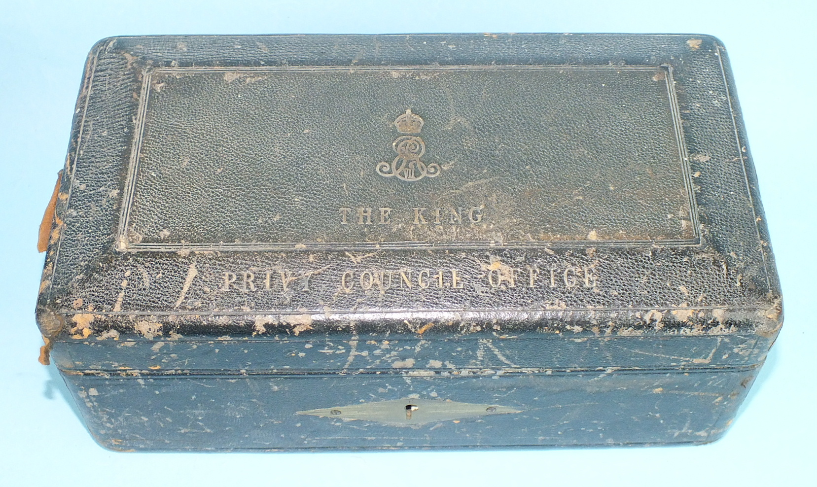 A leather-covered Privy Council Office document box, the tooled leather hinged lid with royal cipher - Image 4 of 5
