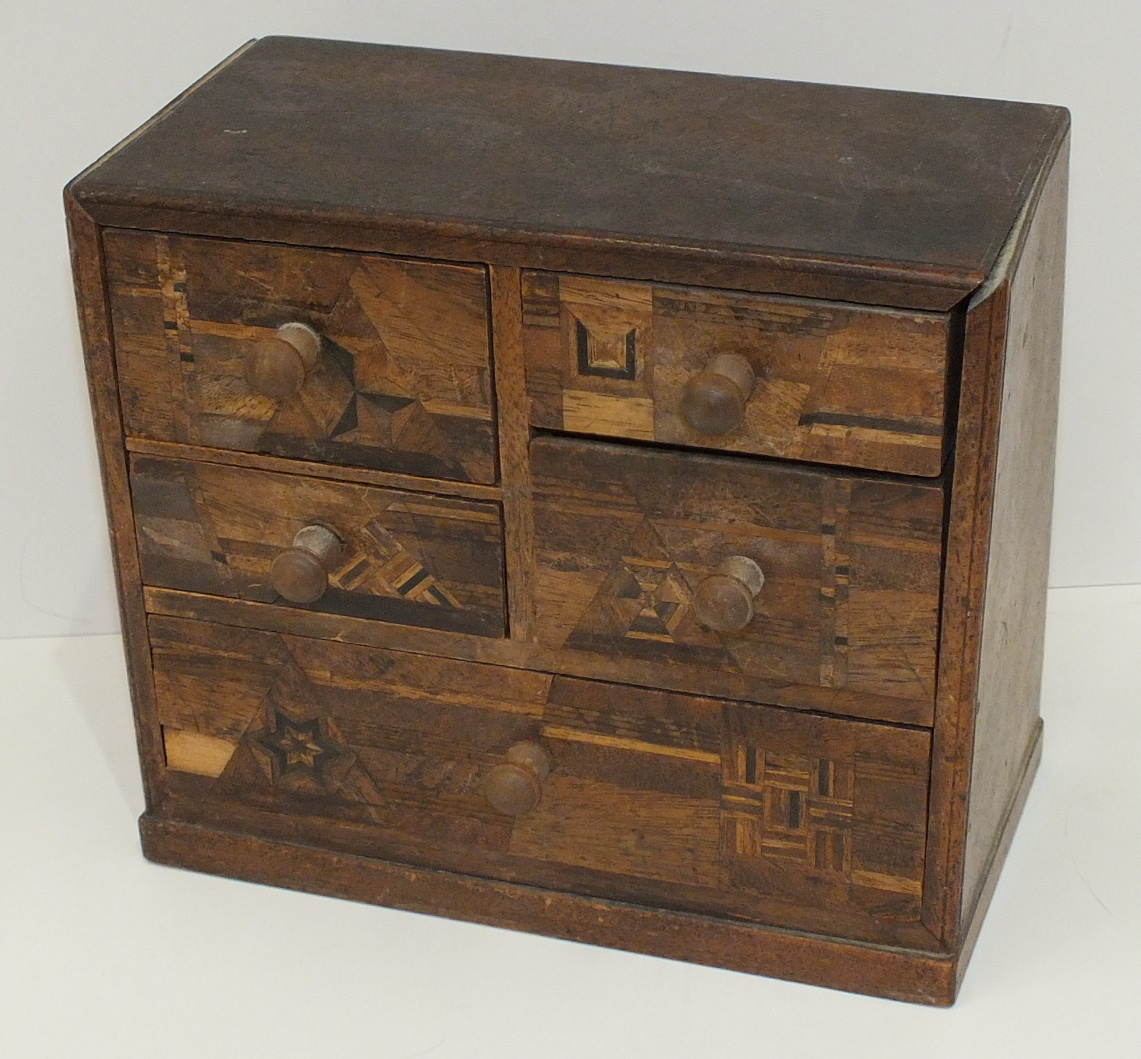 A small wooden chest with an arrangement of five marquetry-decorated drawers, 18cm wide, 15.5cm - Image 4 of 4