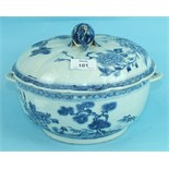 An 18th century Chinese porcelain circular tureen and cover decorated with landscapes, with shell