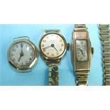 Three ladies 9ct-gold-cased wrist watches, one on 9ct gold bracelet, (14g), (3).