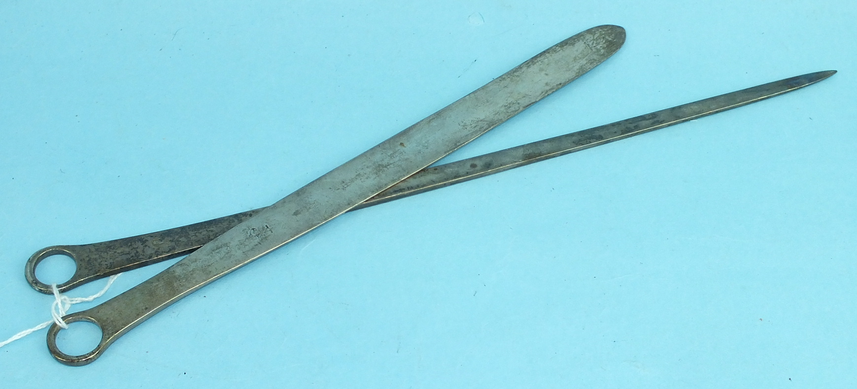 Lot 427 - A Georgian silver letter opener, 26.5cm, London 1805, ___1½oz and a Georgian silver meat skewer,