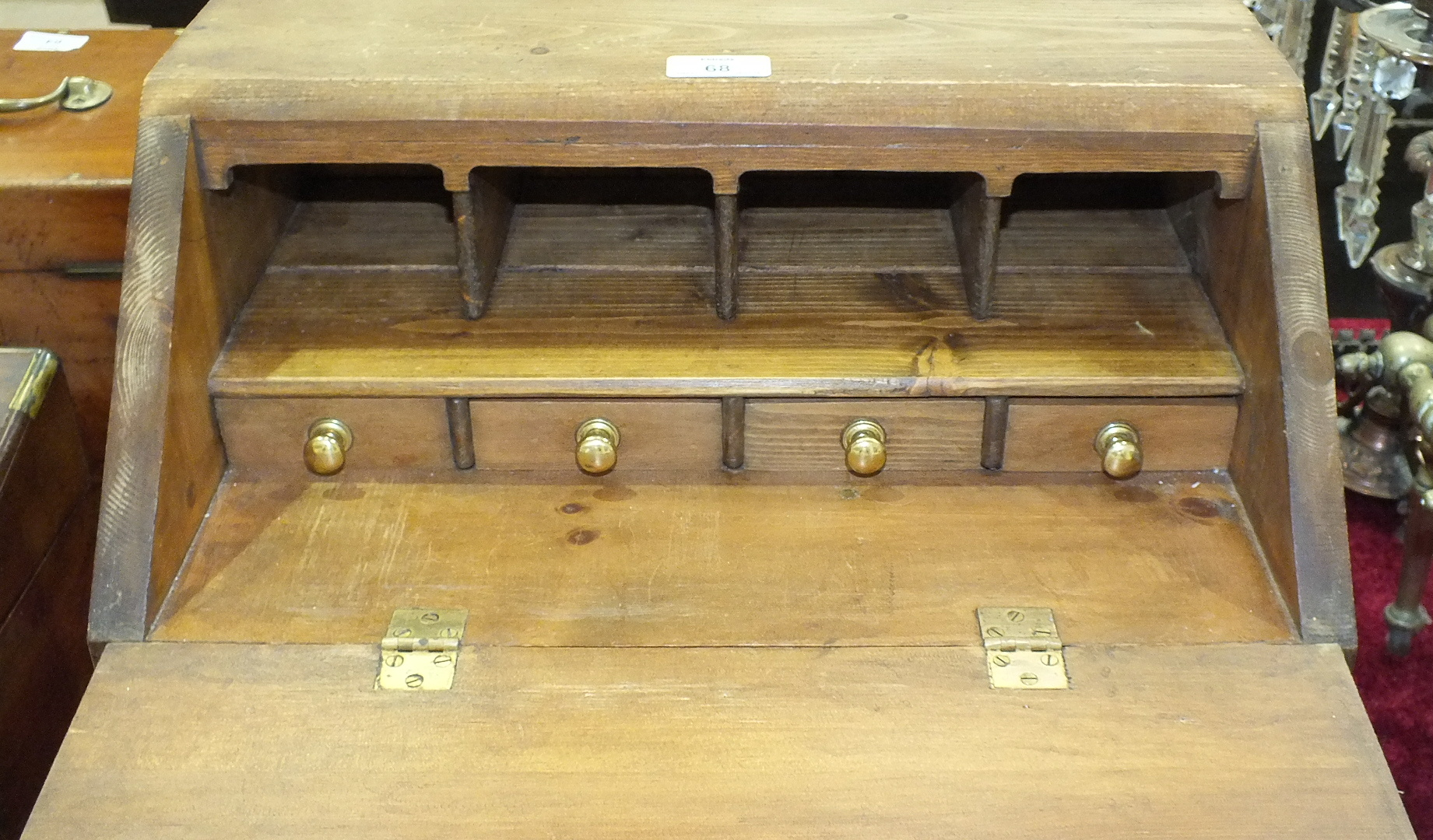 A collectors' chest in the form of a small pine bureau, the fall front above four long drawers, 44. - Image 2 of 3