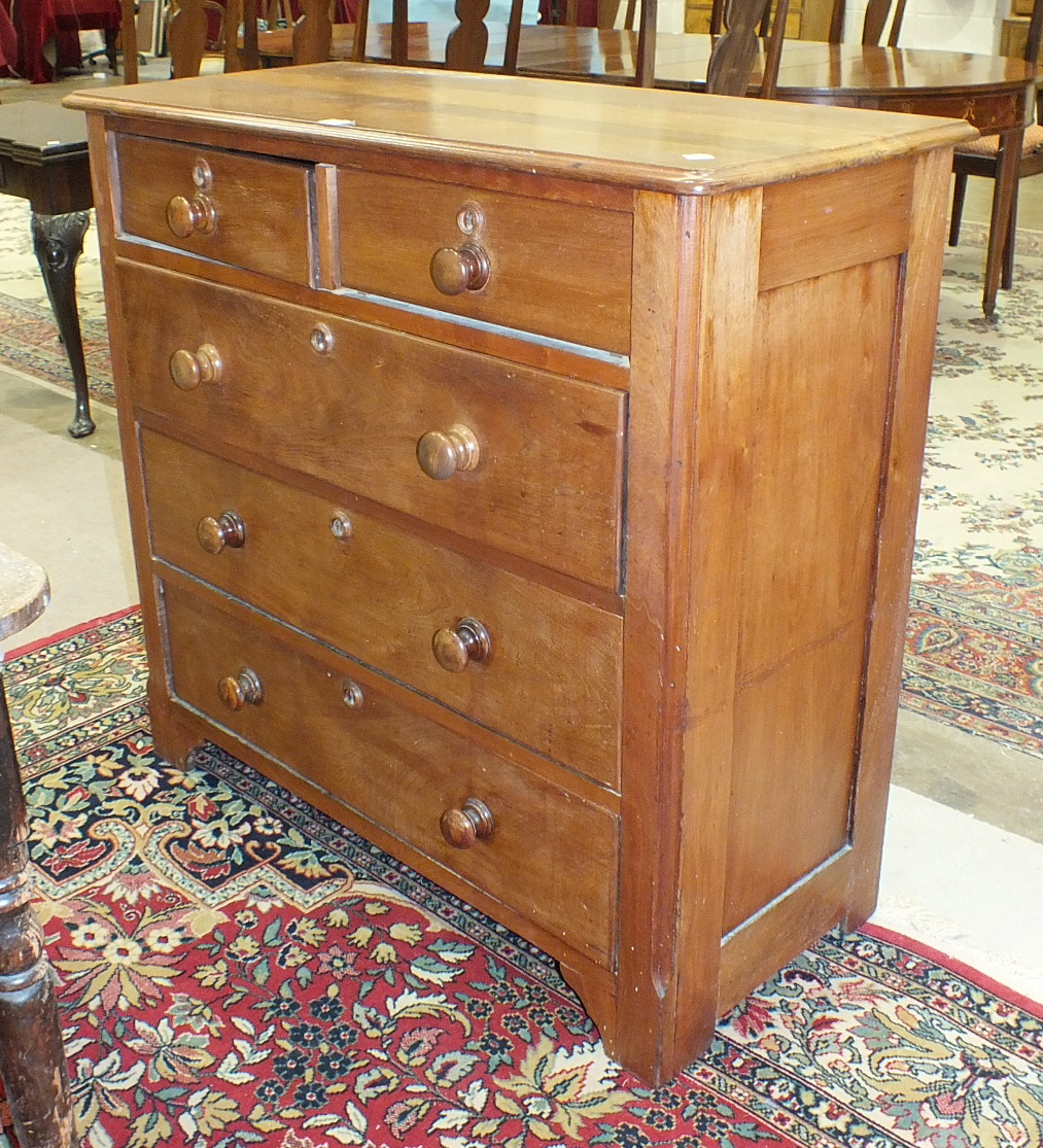 A 19th century mahogany chest of two short and three long drawers, 105cm and a 20th century ten-