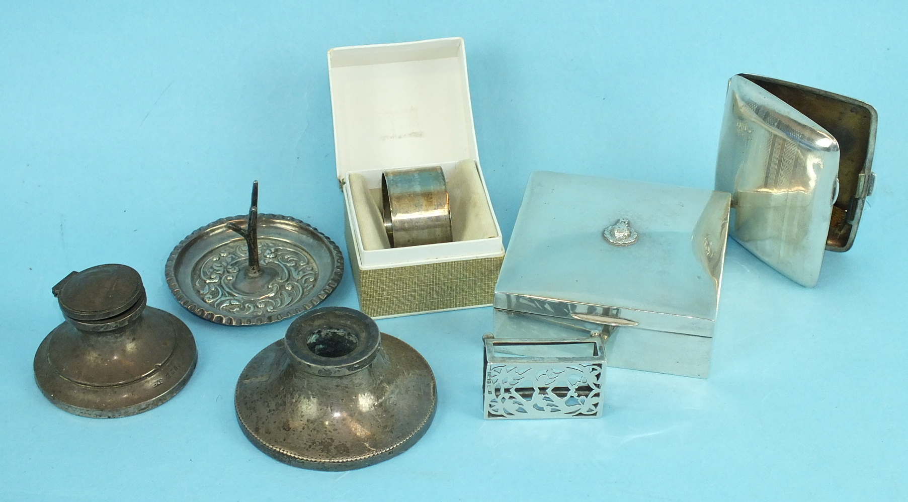 Lot 458 - A late-Victorian embossed ring tree, Birmingham 1901, a small matchbox holder, cigarette case and