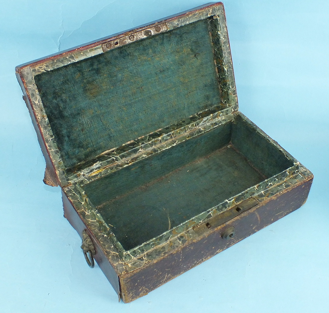 A leather-covered Privy Council Office document box, the tooled leather hinged lid with royal cipher - Image 3 of 5
