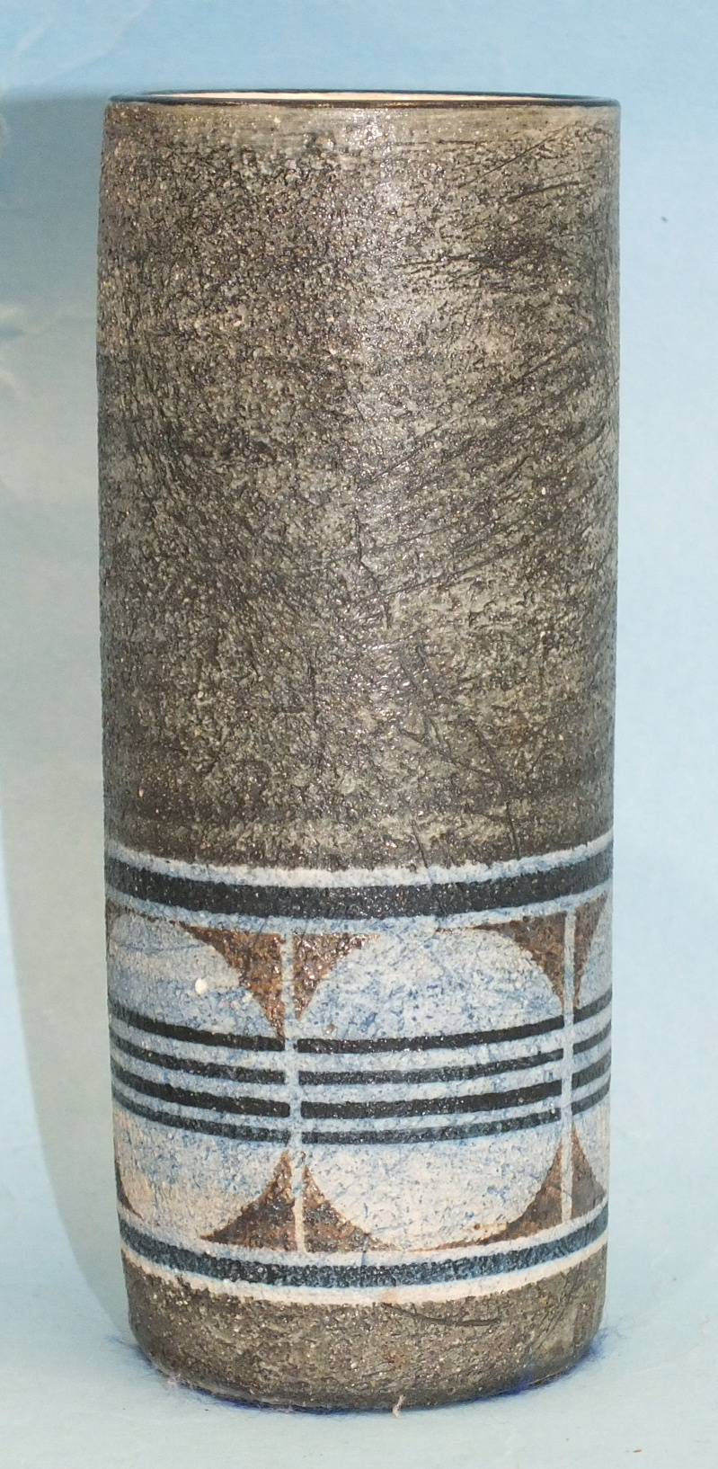 A Troika Pottery small cylindrical-shaped vase decorated with a geometrical pattern within bands, on - Image 3 of 4