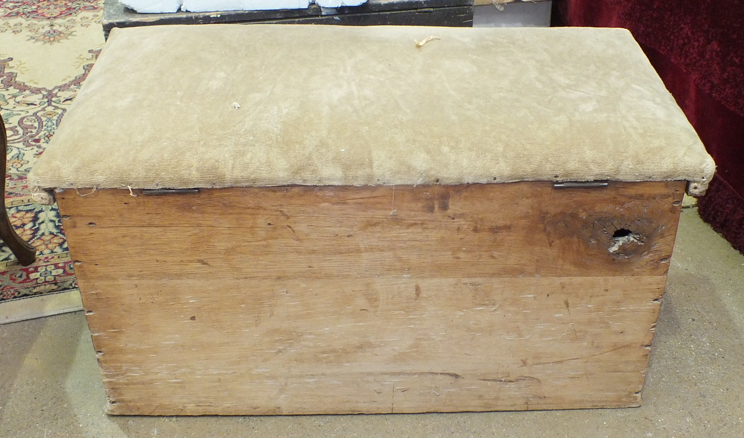 A metal-bound pine box, 76cm wide, a pine blanket chest, a tool box and a pine stool, (4). - Image 3 of 4