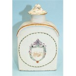 A late-18th century Chinese porcelain teapoy and cover c1790 decorated with an initialled crest, (