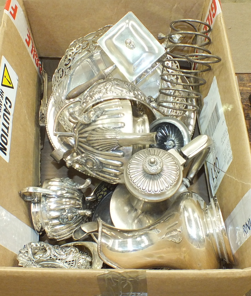Lot 388 - A three-piece silver-plated oval tea service and other plated items.