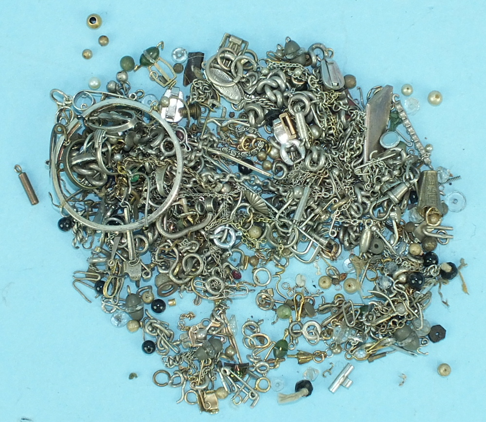 Lot 332 - A quantity of mainly silver and white metal chains, clasps, etc. and other items.