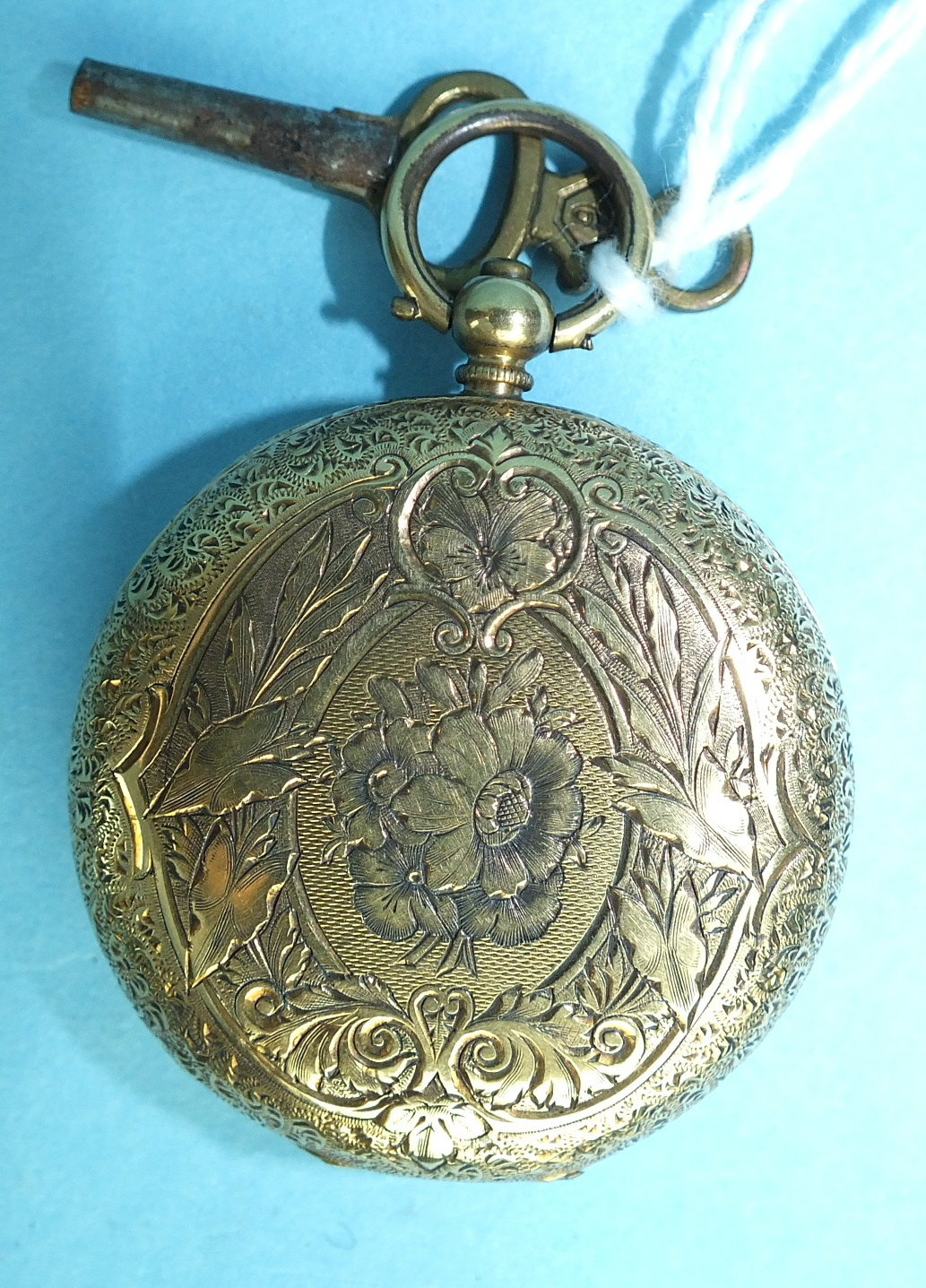 Lot 144 - A ladies Continental 18k-gold-cased open-face key-wind pocket watch, the engraved gold face with