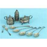Two 20th century mustard pots, a pepper, five teaspoons and other miscellaneous small silver, (a