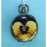 A ladies French 800-silver-cased keyless pocket watch, the back enamelled with a pansy flower