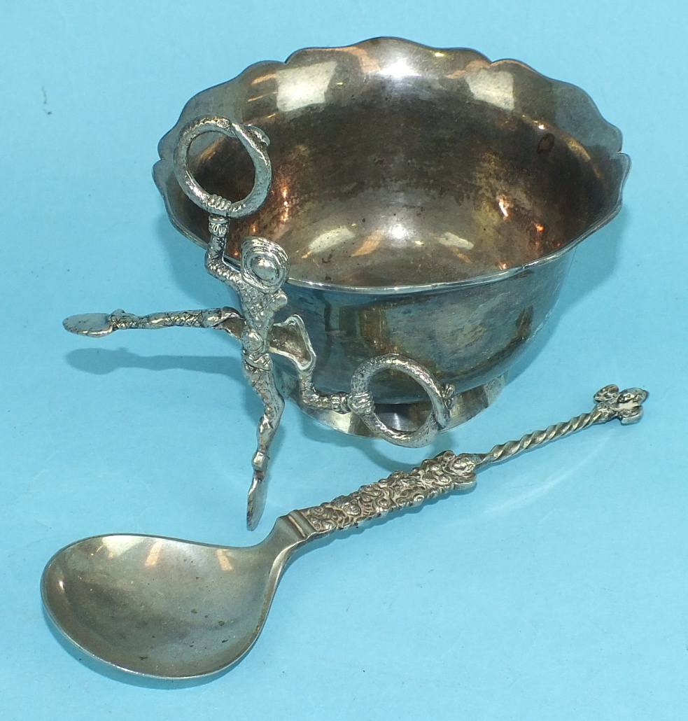Lot 390 - A Continental plain bowl with wavy rim, 13cm diameter, 8cm high, ___6.5oz, a spoon with chased