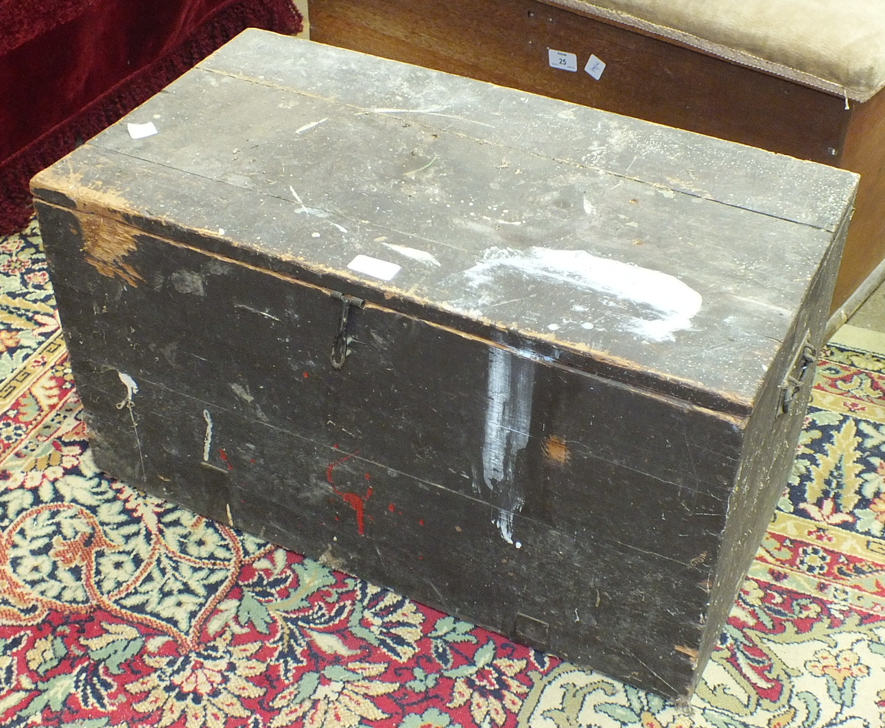 A metal-bound pine box, 76cm wide, a pine blanket chest, a tool box and a pine stool, (4). - Image 4 of 4
