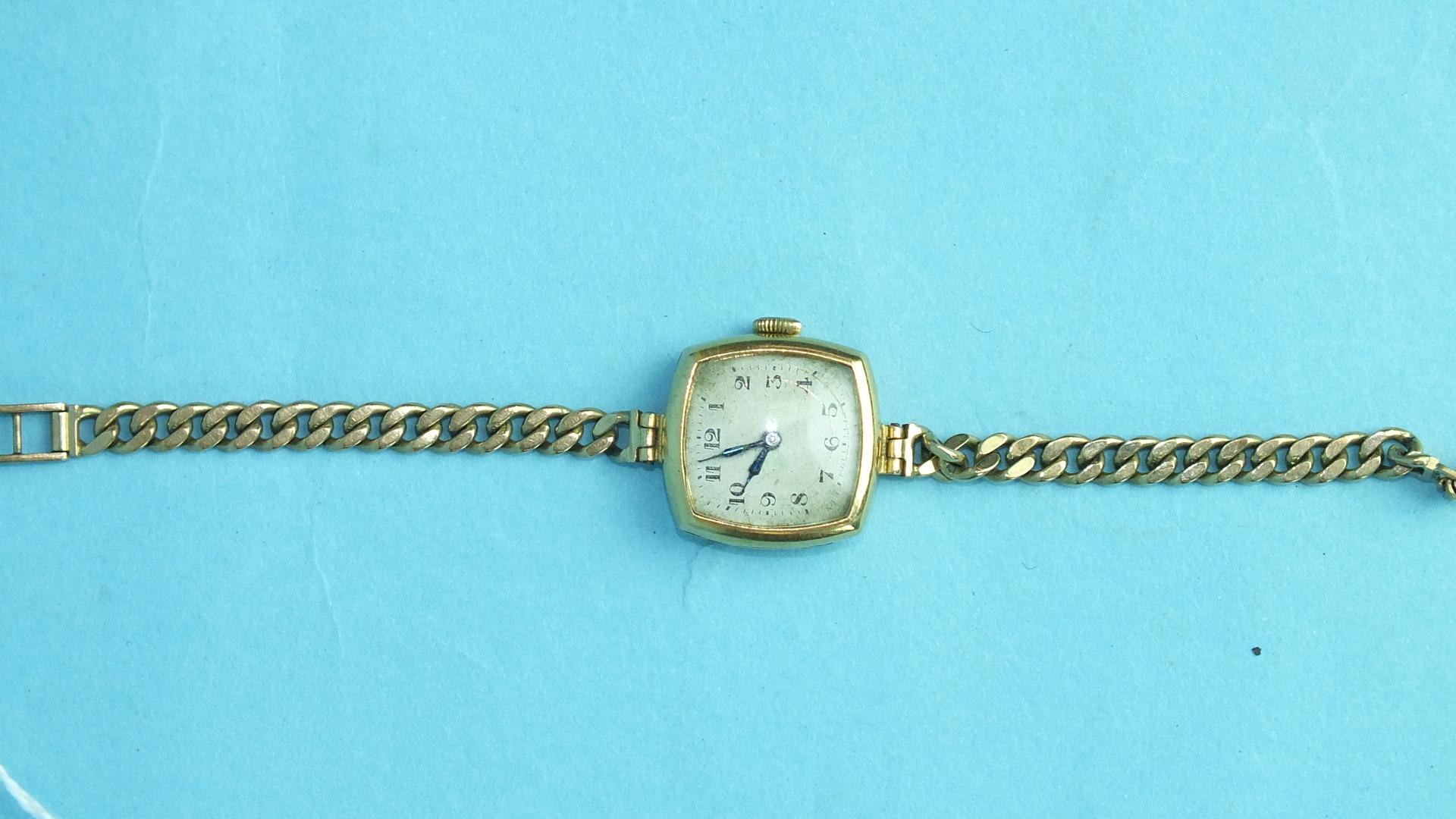 Lot 153 - A ladies 18ct-gold-cased Centaur wrist watch on 9ct gold curb-link bracelet.