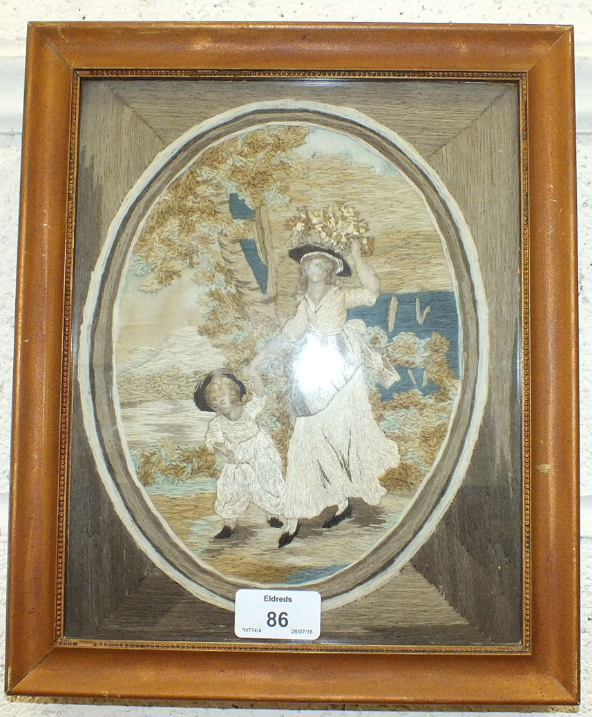 Two 19th century stumpwork and embroidery pictures, each depicting a mother and child in rustic - Image 2 of 2
