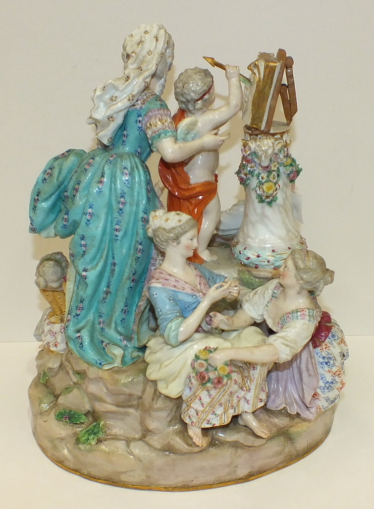 A large 19th century Meissen outside-decorated porcelain group of The Music Lesson after Acier, - Image 2 of 5