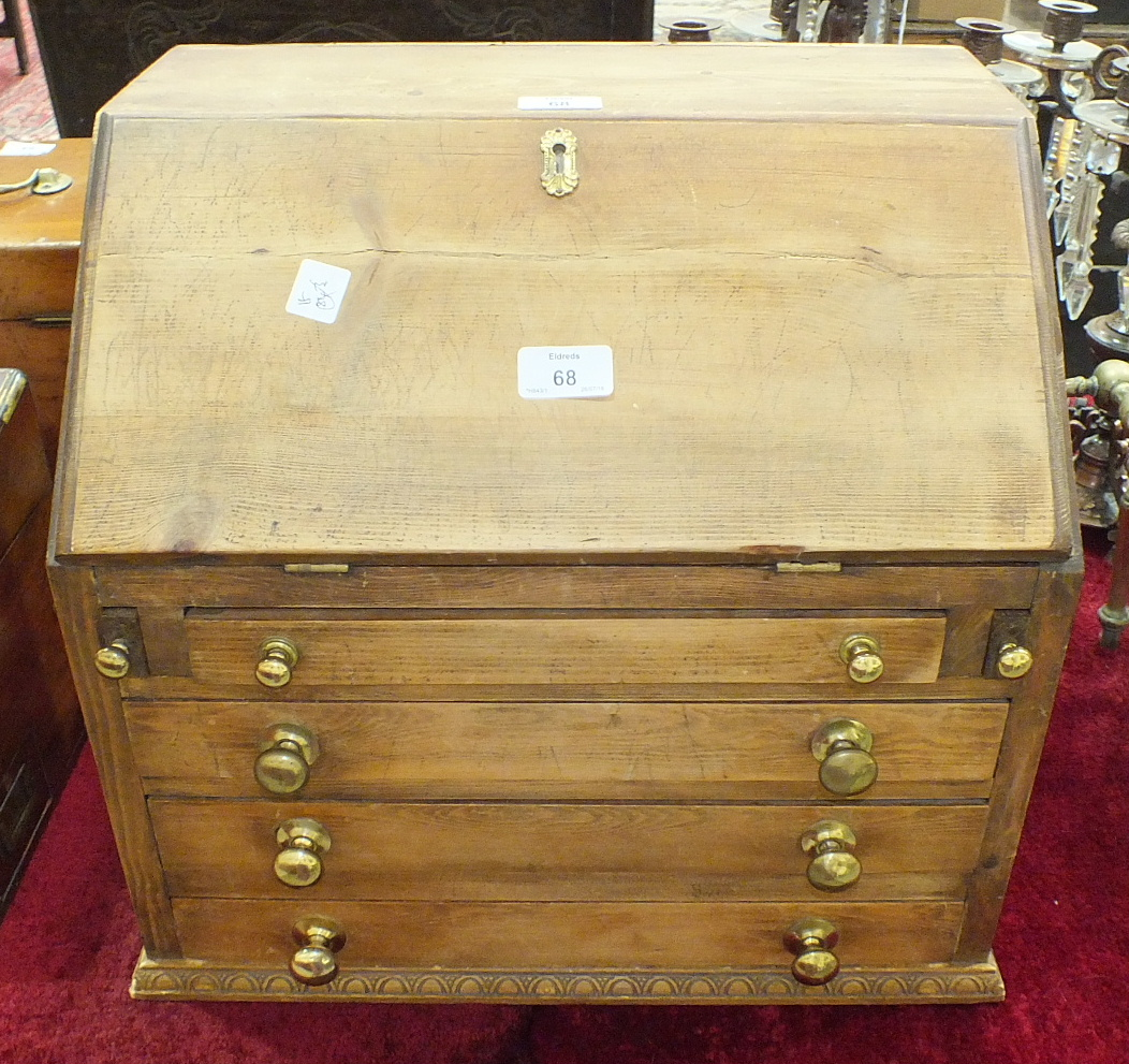 A collectors' chest in the form of a small pine bureau, the fall front above four long drawers, 44. - Image 3 of 3