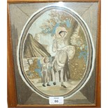 Two 19th century stumpwork and embroidery pictures, each depicting a mother and child in rustic