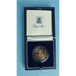 A Royal Mint 1983 proof half-sovereign, in case.