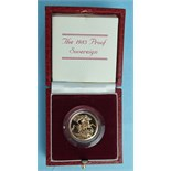 A Royal Mint 1983 proof sovereign, in case.