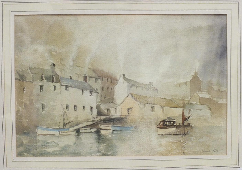 Claude Kitto POLPERRO Signed watercolour, 30.5 x 46cm.