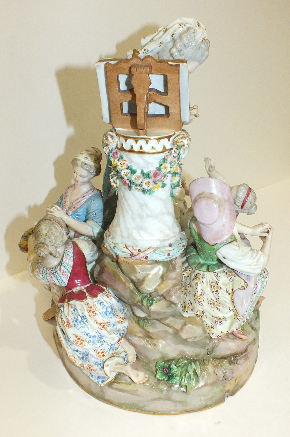 A large 19th century Meissen outside-decorated porcelain group of The Music Lesson after Acier, - Image 5 of 5