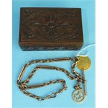 A 9ct rose gold Albert watch chain with Masonic fob and 1785 guinea, (holed), total weight 58g, in