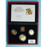 The Royal Mint 1991 United Kingdom Gold Proof Sovereign Three-Coin Set, comprising: double-