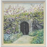 Mary Martin GARDEN GATE AT THE GARDEN HOUSE, CRAPSTONE Signed oil on canvas, 29 x 27cm, together
