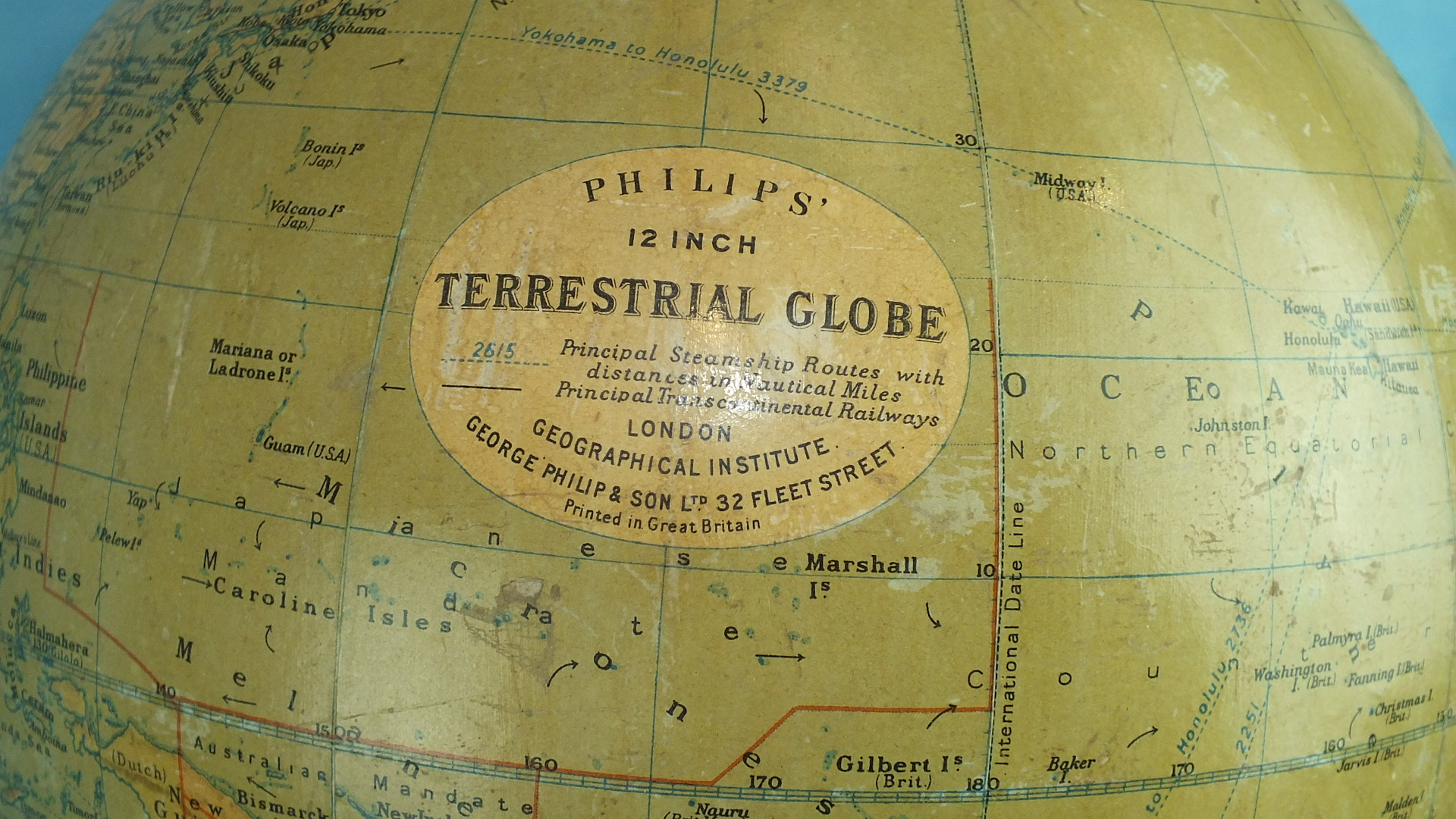 """A Philips' 12"""" Terrestrial Globe on stand, no.2615, showing 'Principal Steamship Routes with - Image 2 of 2"""