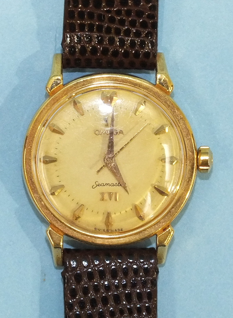 Lot 142 - Omega, an unusual 18ct gold Omega Seamaster XVI gentleman's automatic wrist watch to commemorate the