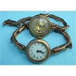 Two ladies 9ct-gold-cased wrist watches on gold expanding bracelets, (2).
