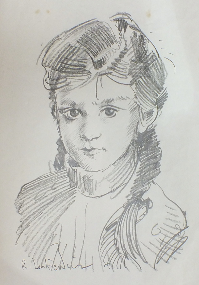 R O Lenkiewicz, a signed pencil sketch on paper, portrait of a young girl, 42.5 x 29.5cm and another - Image 2 of 2
