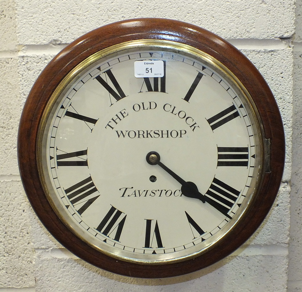 A Victorian mahogany wall clock, the circular restored enamel dial marked 'The Old Clock Workshop,