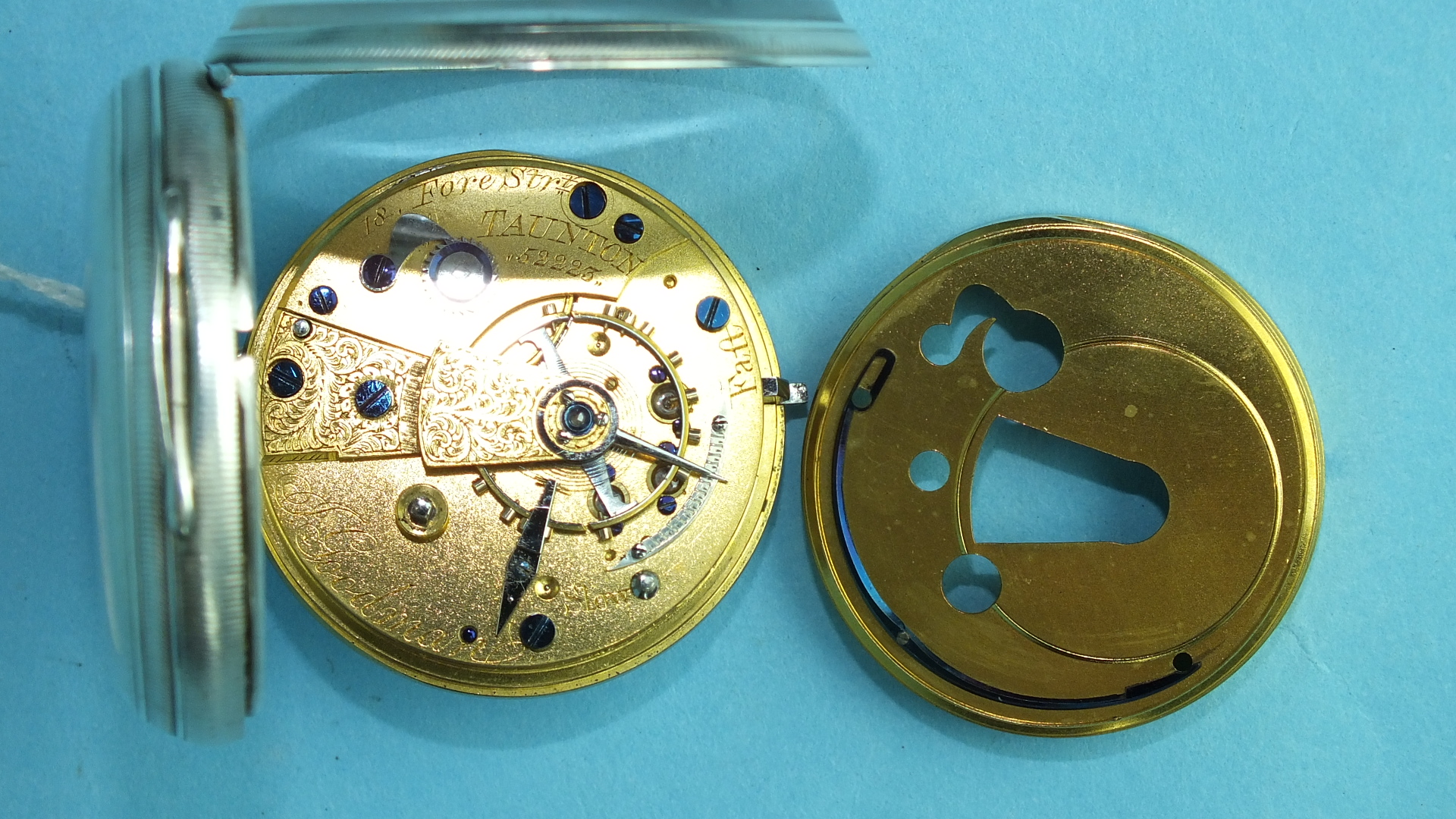 Lot 157 - An unusual Victorian silver-cased key-wind open-face pocket watch, the white enamelled dial numbered