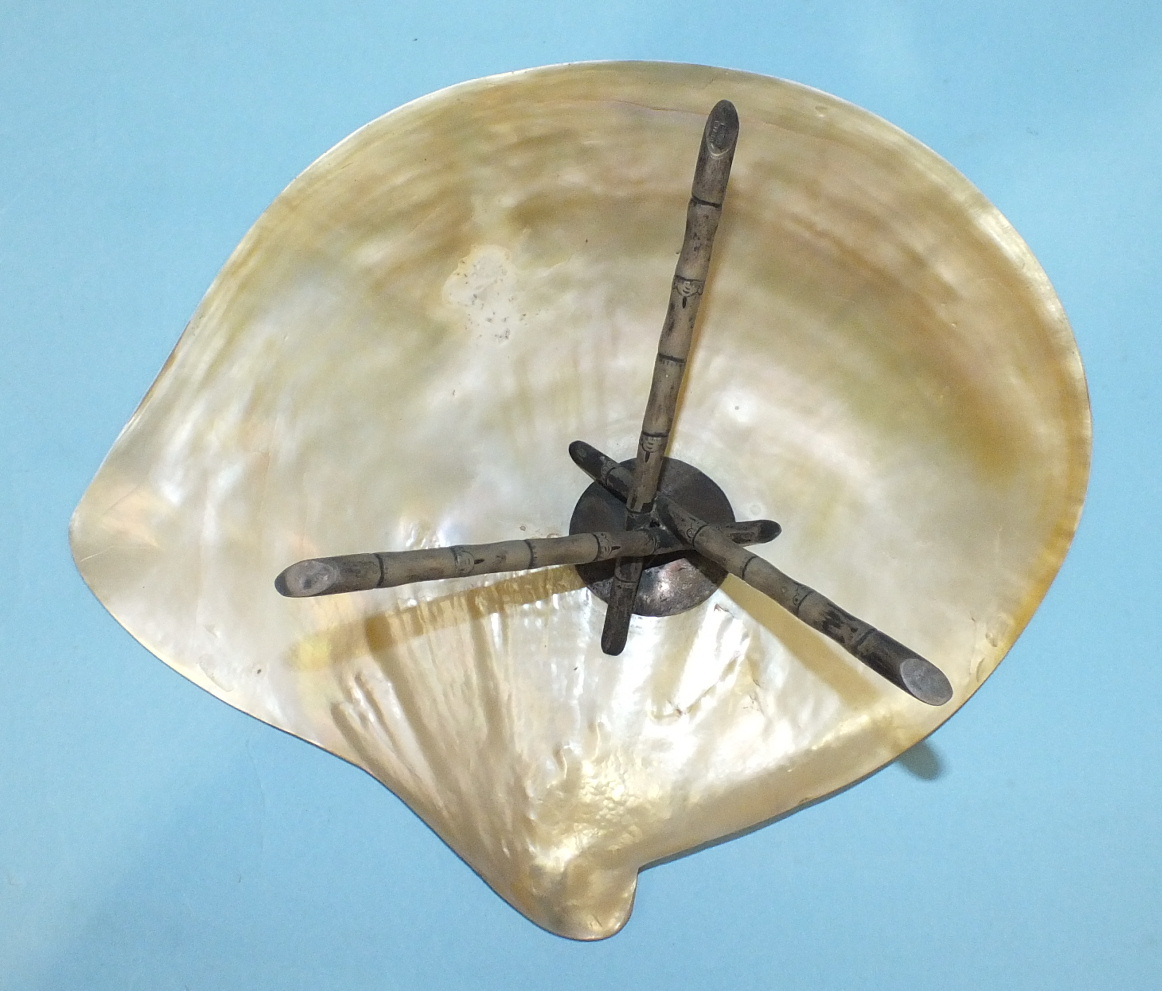 A large 19th century Chinese silver-mounted abalone shell supported by three silver 'bamboo' legs, - Image 3 of 4