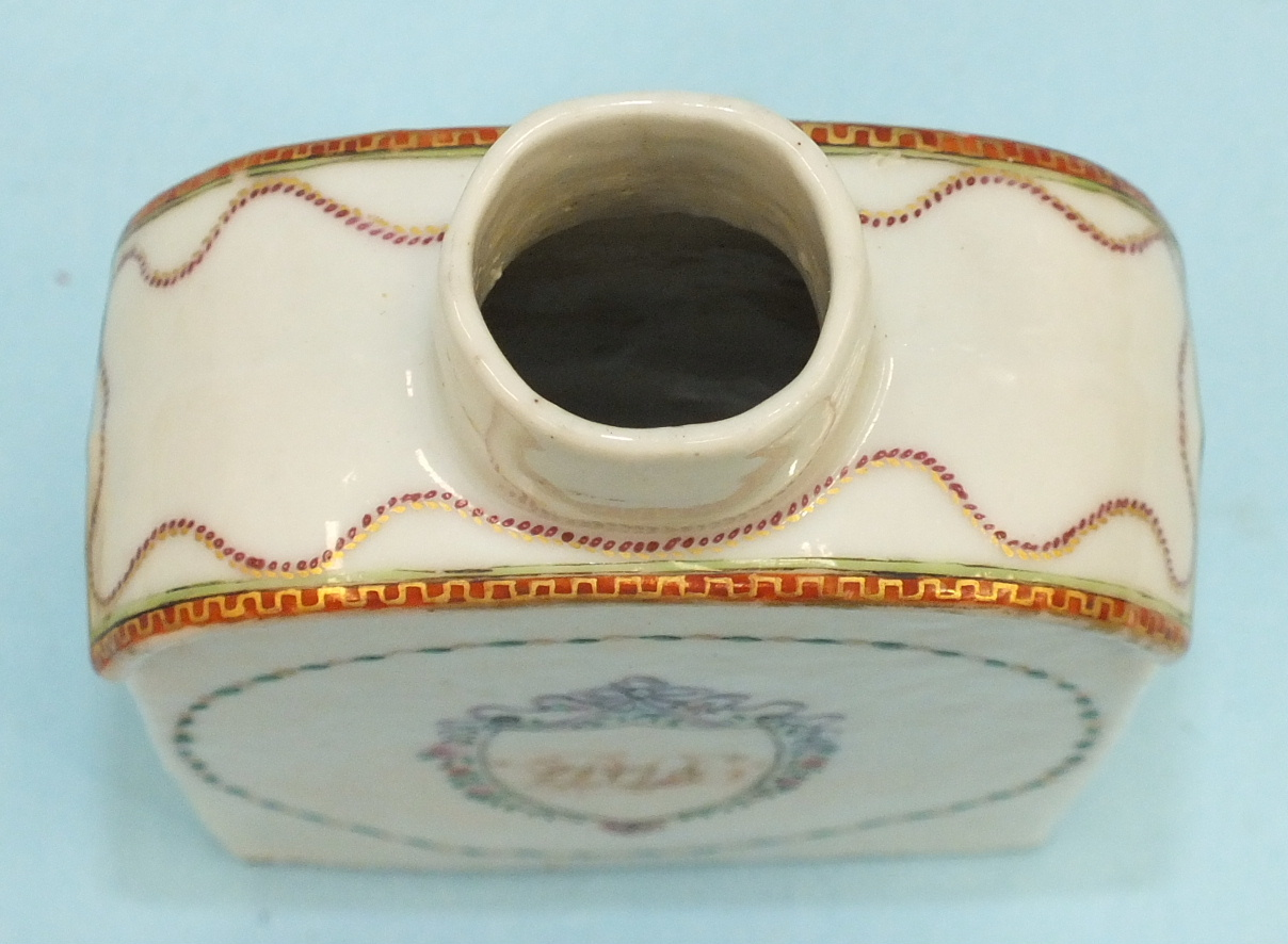 A late-18th century Chinese porcelain teapoy and cover c1790 decorated with an initialled crest, ( - Image 3 of 6