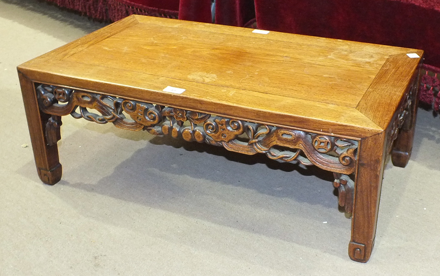 A Chinese small rectangular occasional table with pierced frieze, 76 x 44cm.