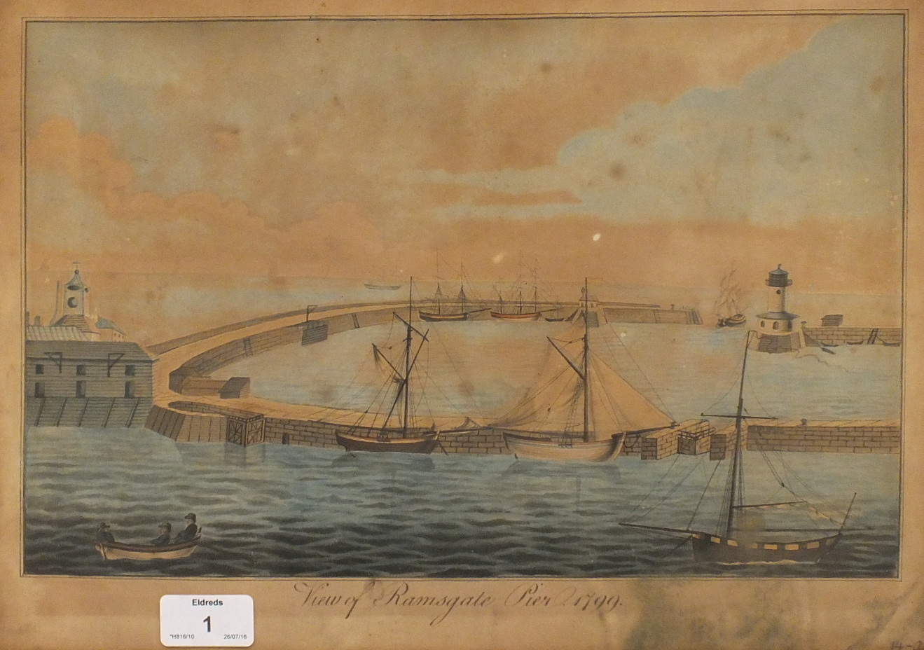 English School VIEW OF RAMSGATE PIER, 1799 Unsigned watercolour, titled on mount, 28 x 38cm, brown