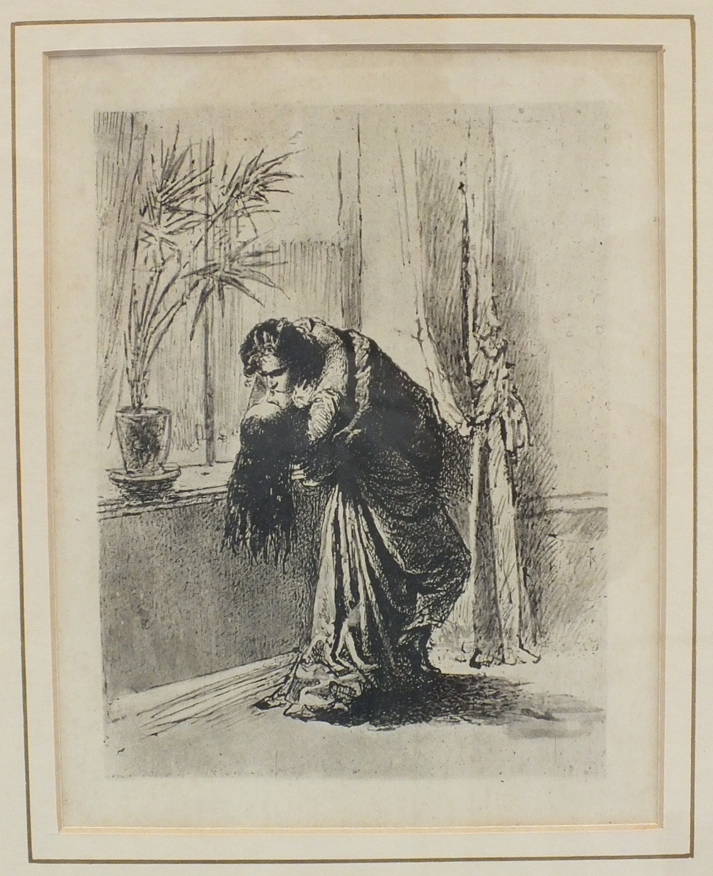 After Zichy, 'Couple embracing in front of window', a framed etching, 20 x 15.5cm.