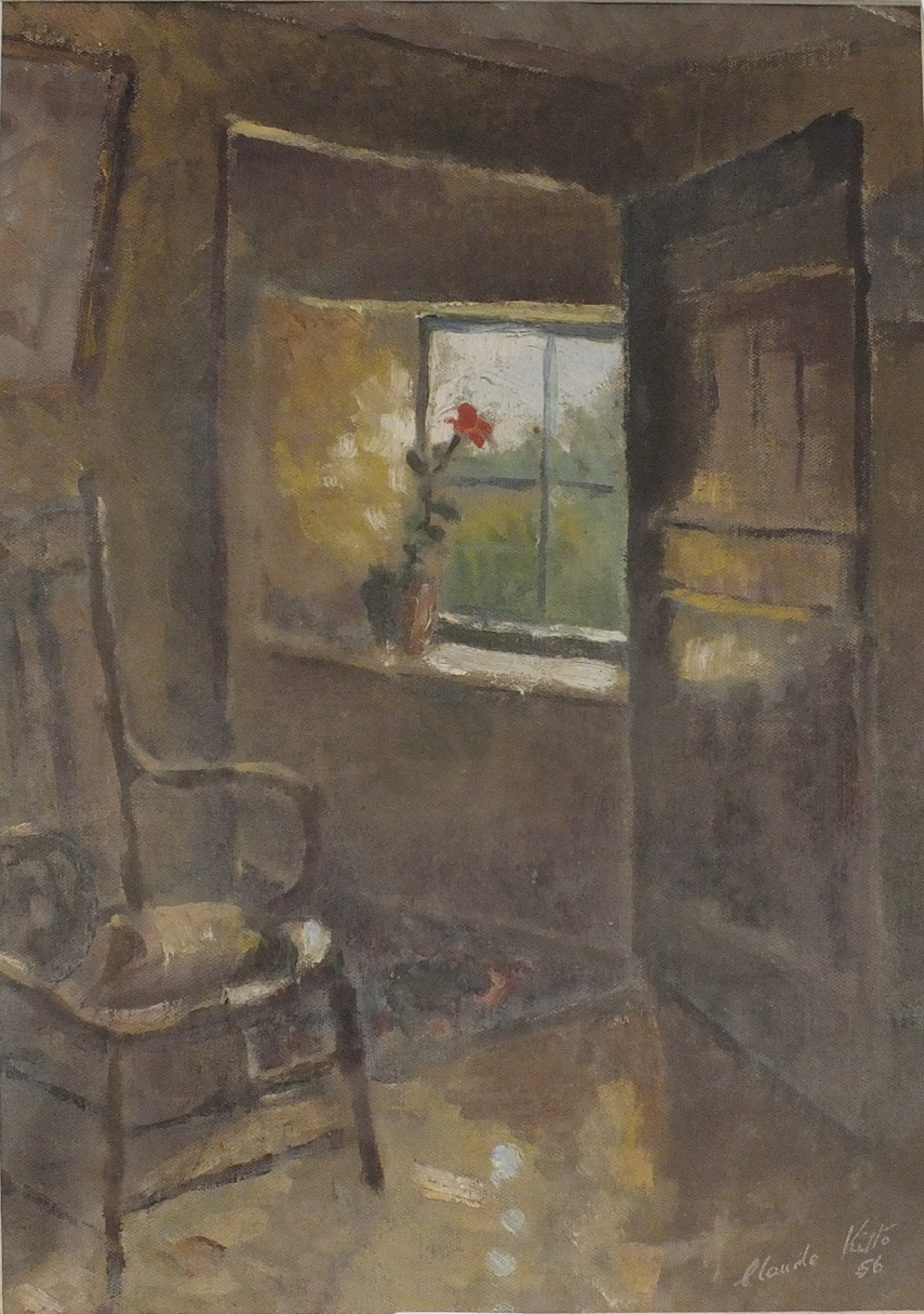 Claude Kitto FLOWERING PLANT ON A COTTAGE WINDOWSILL Signed oil on canvas, dated '56, 35 x 25cm,