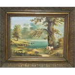 A Continental ceramic plaque depicting sheep in a lakeland scene, 16 x 22cm.